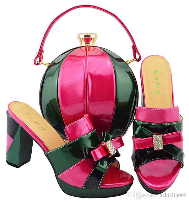 아름 다운 자홍색 및 D.green 여성 신발 매듭 디자인 아프리카 신발 및 핸드백 설정 MD003, 발 뒤꿈치 9CM