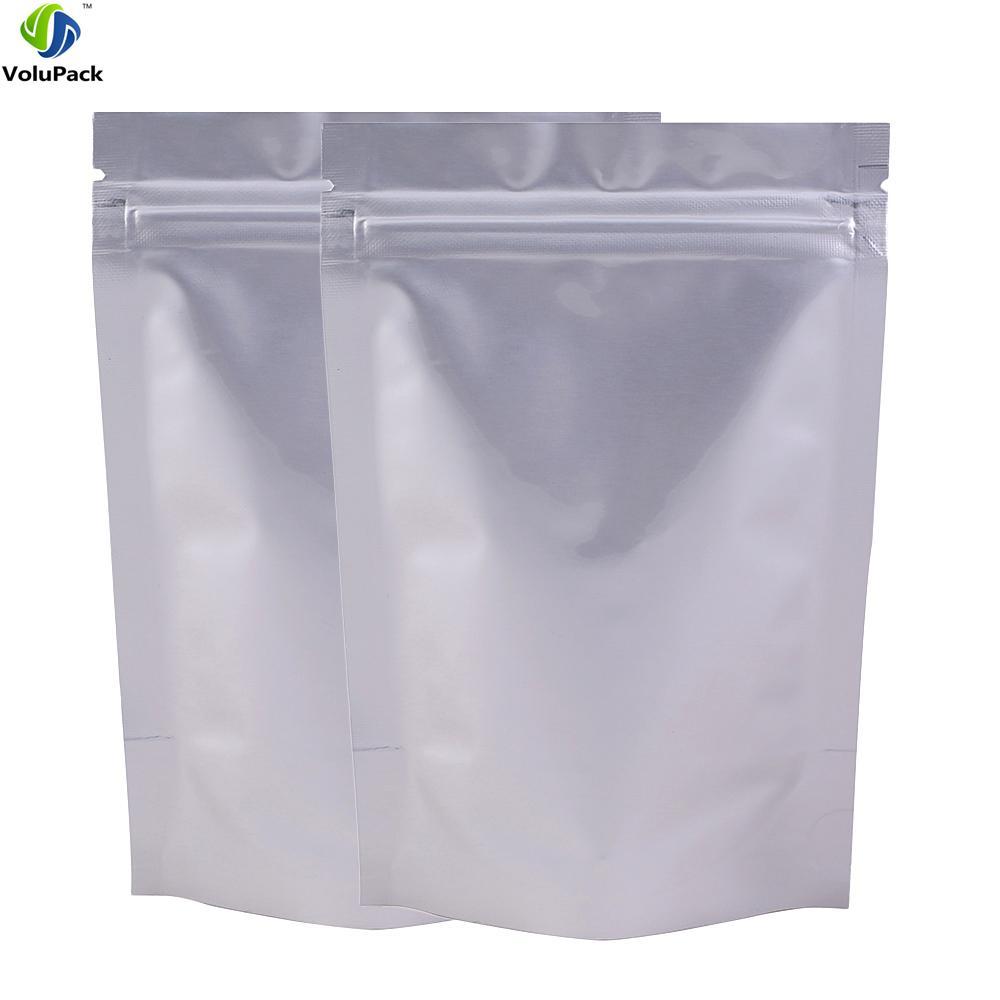 "8x12cm (3x4.75"") 100pcs Heat Sealing Silver Thick Stand Up Pure Aluminium Foil Bag Ziplock Bag food storage"