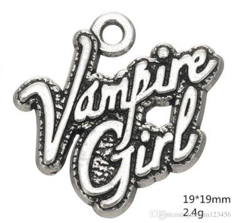 2021 Aleación de zinc Antigua Plata Plateada Palabra Vampiro Chica Charm Otra Joyería Personalizada