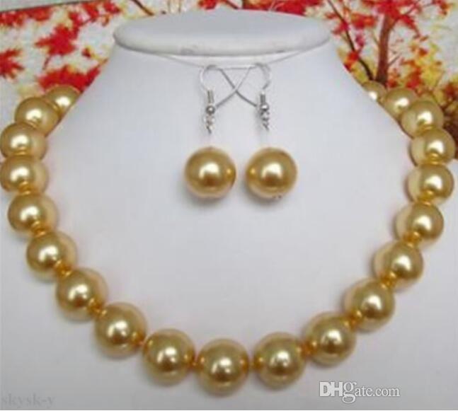 10mm Natural Rodada Amarelo Sul Mar Shell Pearl Necklace 18 '' Brincos Set
