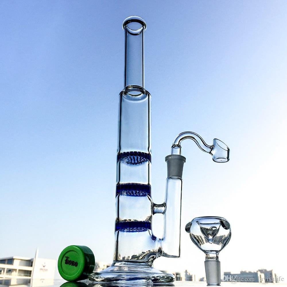 Tubo diritto economico fumatori Glass Bong 3 strati Perc acqua Vetro fumatori Bong Con La Benna UPS all'ingrosso 10XX2