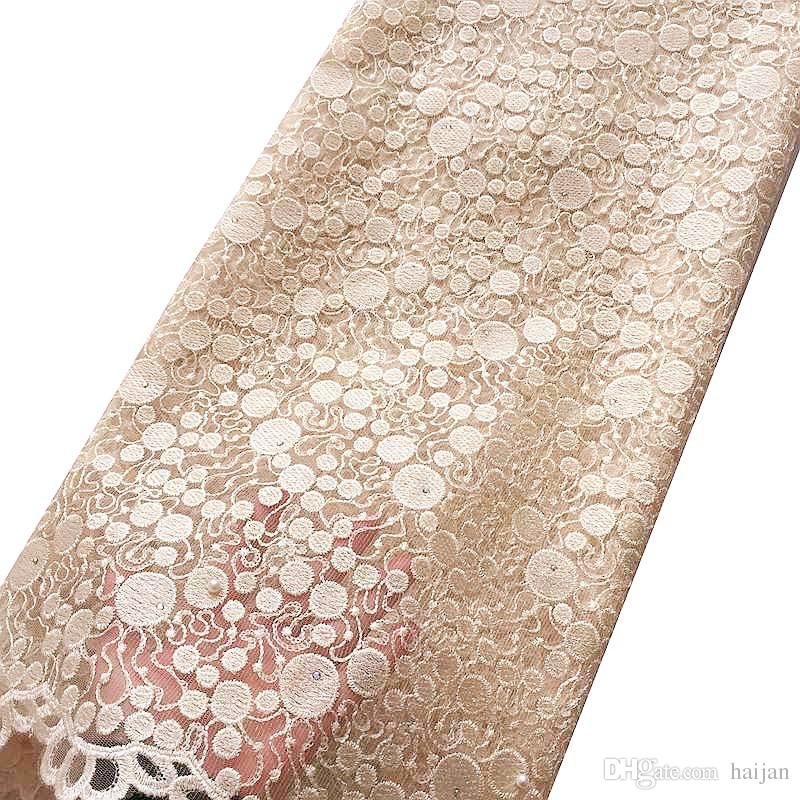 Latest High Quality French Lace Fabric Nigeria 2018 Pink Beige African Material Beaded Lace Fabric For Wedding 2017 With Stones