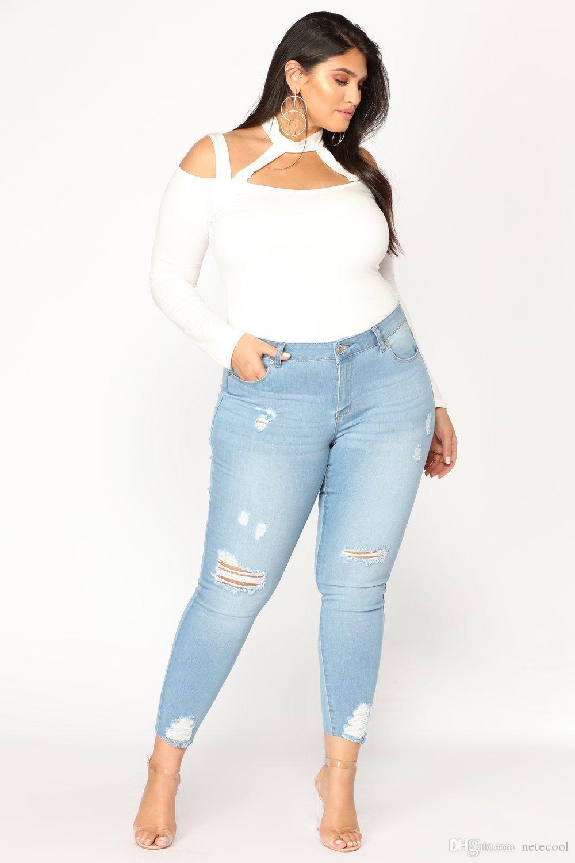 NUOVI ARRIVI Jeans lunghi casuali Donna vita alta Skinny Pencil Blue Denim Pants Strappato Hole Tagliate Skinny Slim Fit Jeans Donna Plus Size 7XL