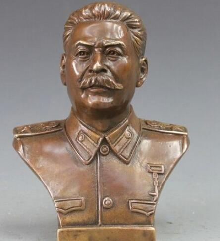 + Западная Бронзовая Медь Политик Иосиф Виссарионович Сталин Бюст Статуя Искусства