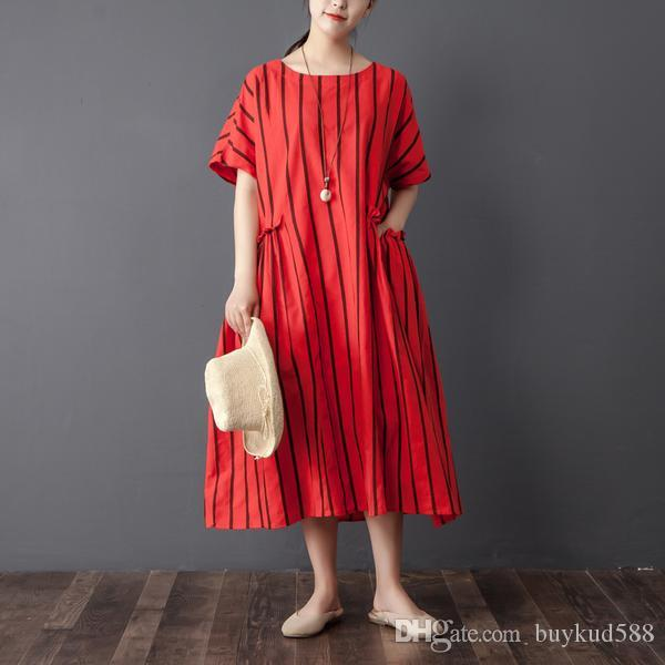 2018 Summer New Plus Size Design Women Stripe Short Sleeve Cotton Linen Red Dress Free Shipping for All and Cheap Fast Delivery