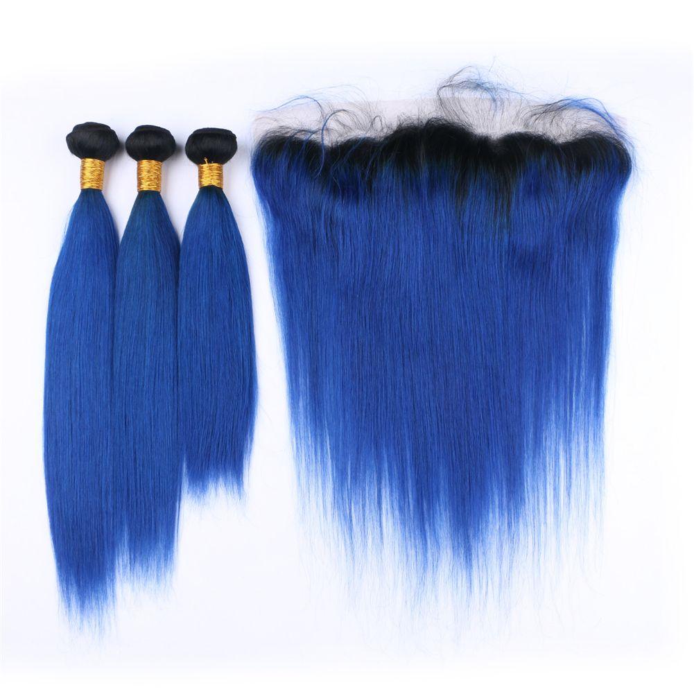Ombre Renk Mavi Saç Demetleri Ile Dantel Frontal Hint İpeksi Düz 1B Mavi Saç Kulağa Ile Tam Dantel Frontal 13 * 4