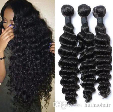 Pérou Malaisien Mongol Produits Cheveux brésiliens vierges cheveux vague profonde 3 Bundles par lot de cheveux humains Weave Pas Tangle