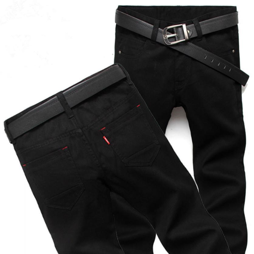 2017 Jeans Hommes Pantalons Mode quatre saisons Hommes Jeans Slim Pantalon droit Couleur Noir