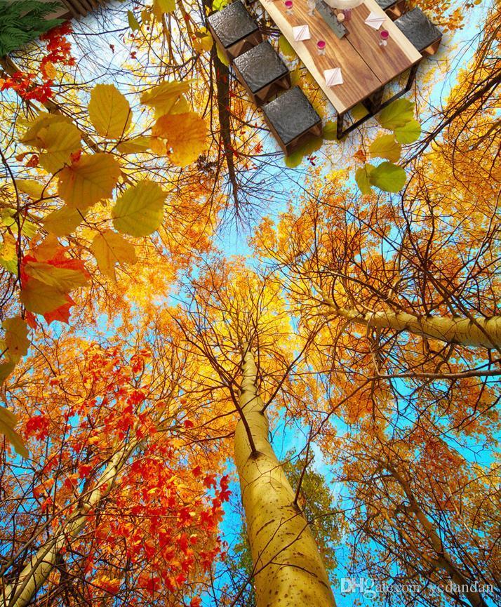 пользовательские 3d напольная плитка фото стены лес обои 3d стереоскопический пол самоклеющиеся обои