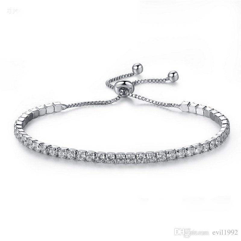 Pulseras de plata No Logo Diamante Cadena de Cristal Fit pandora Rhinestone Brazalete Pulsera Mujeres Regalo Mujer BR002