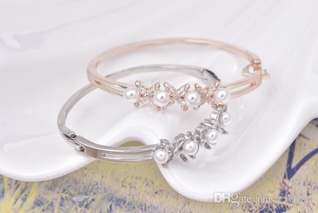 Bracciale zircone occhio di cavallo braccialetto moda coreana placcato oro braccialetto di perle carino bracciale classico