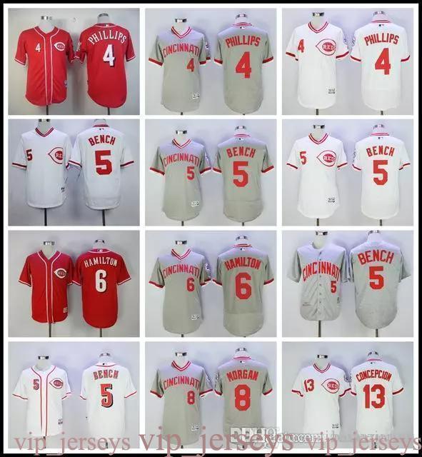 2019 Men's Ci 4 Scooter Gennett 5 Johnny Bench 6 Billy Hamilton 8 Joe Morgan Flexbase baseball Jerseys Cool Base 100% Stitched Red Whit