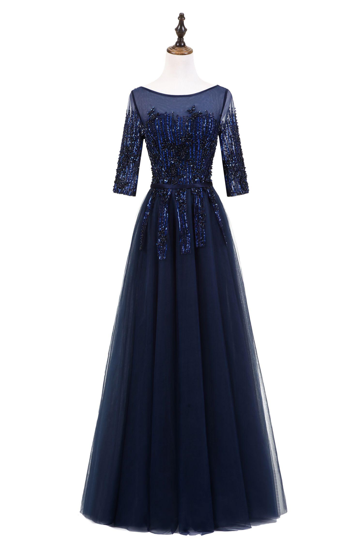 Vintage Prom Dress Long Sleeve Evening Dresses Robe De Soiree Formal Dress Vestido Longo De Festa E007
