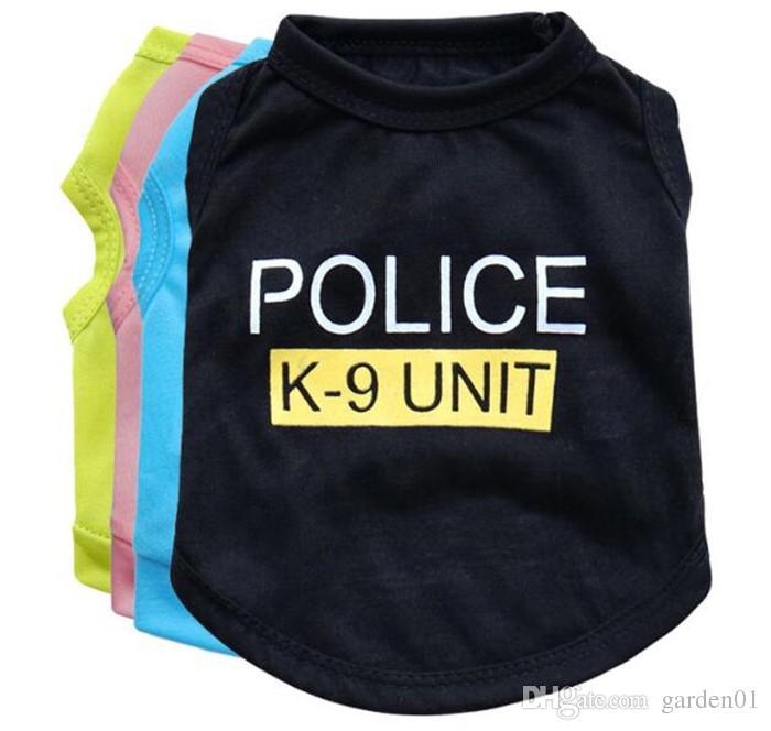 Dog Apparel Fashion Cute Dog Vest Pet sweater Puppy Shirt Soft Coat Jacket Summer Dog Cat Clothes Police K-9 Unit G400