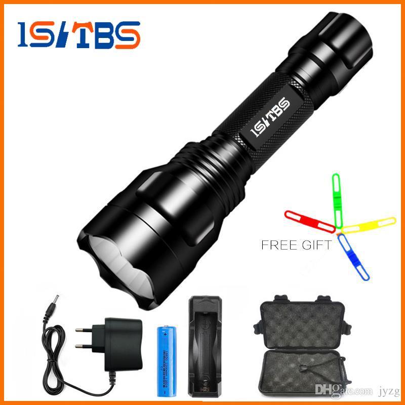 Großhandel LED Taschenlampe XML-T6 8000LM C8 Taktische LED Taschenlampe Aluminium Jagd Taschenlampe Lampe + 18650 + Ladegerät
