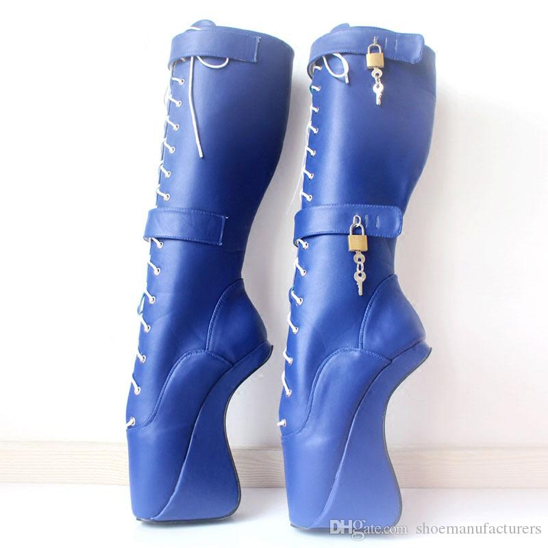"""DHL Free Shipping 2018 NEW 18cm/7"""" Ultra High Hoof Heels Wedge Padlocks Fetish Sexy Pinup Cross-tied Knee-High Ballet Boots for Pole Dancing"""