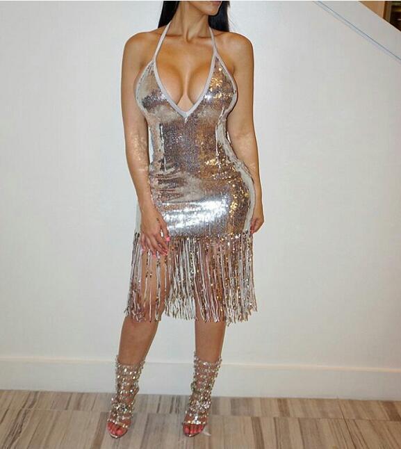 Вечернее платье Длинное платье Холтер с блестками и рукавами