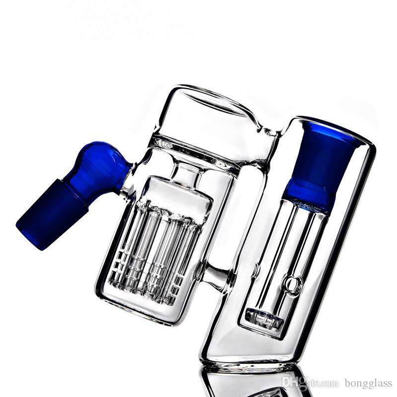 Mini Kalın Mavi Temizle Cam 14mm Kül Catcher Sigara Borular 18mm Kül Catcher Cam Bongs Sigara Borular Için Aksesuarları