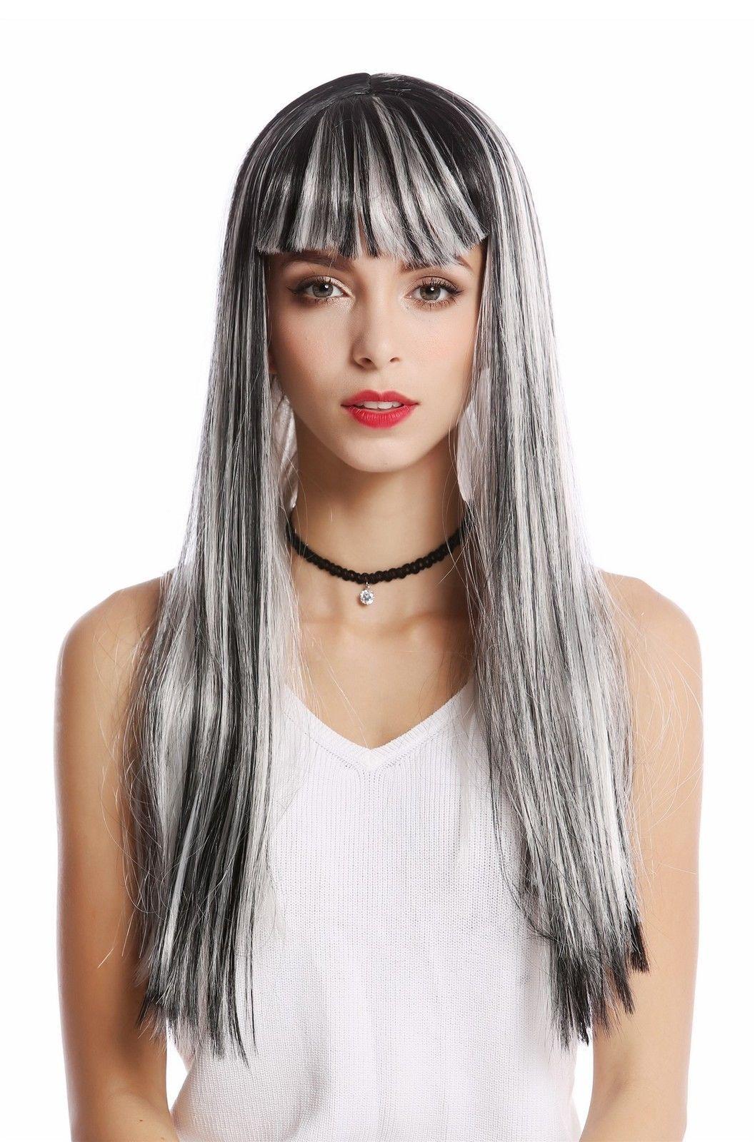 Perencke Damen Karneval Grau Schwarz Weiß gesträhnt gutt lang Pony Disko Alien