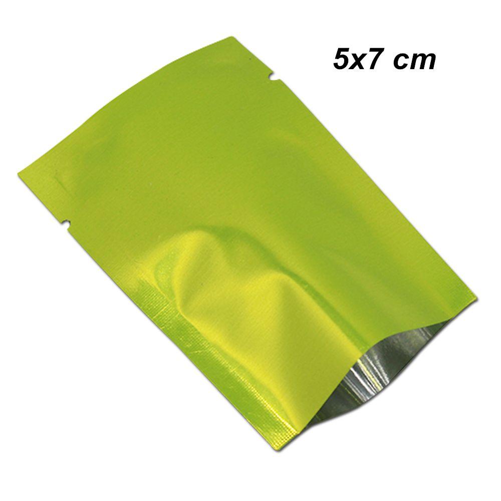 Green 5x7cm 200Pcs Open Top Sottovuoto con termosaldatura Sacchi di alluminio Sacchetti di imballaggio per frutta secca secca Mylar Foil Calore Sacchetto di immagazzinaggio termosaldabile