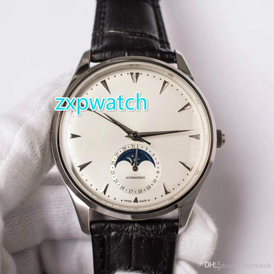 Automatyczny męski Zegarek Księżyc Works Glass Back Sapphire Cyrstal Wysokiej jakości Jakość 316L Zegarek ze stali nierdzewnej Czarny skórzany pasek zegarek