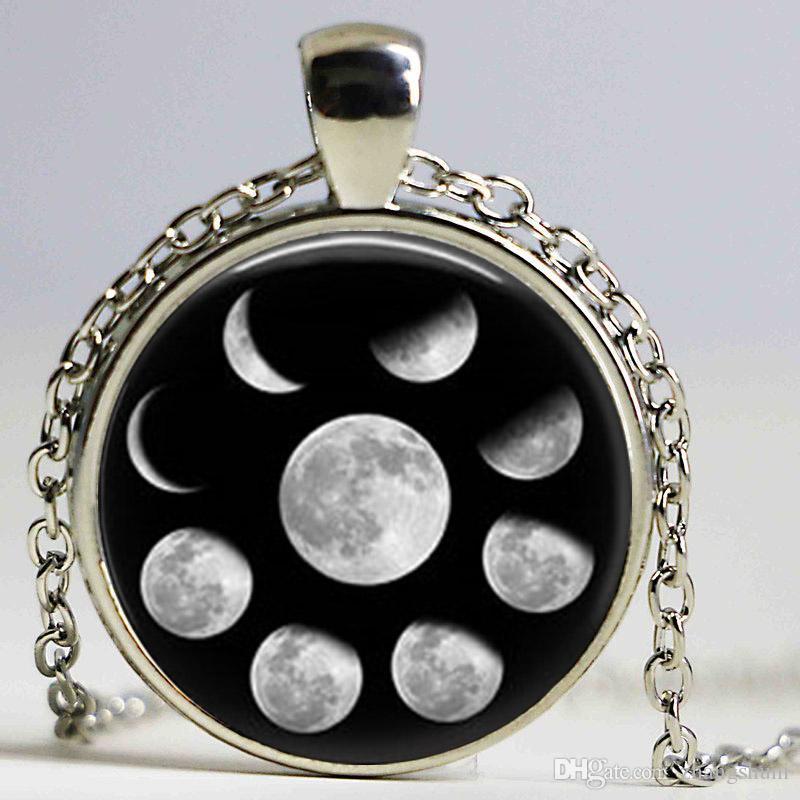 Chegada nova Wiccan Pingente de Colar Ciclo Lunar Lua Fases Lua Nebulosa Pagan Colar De Vidro cabochão jóias