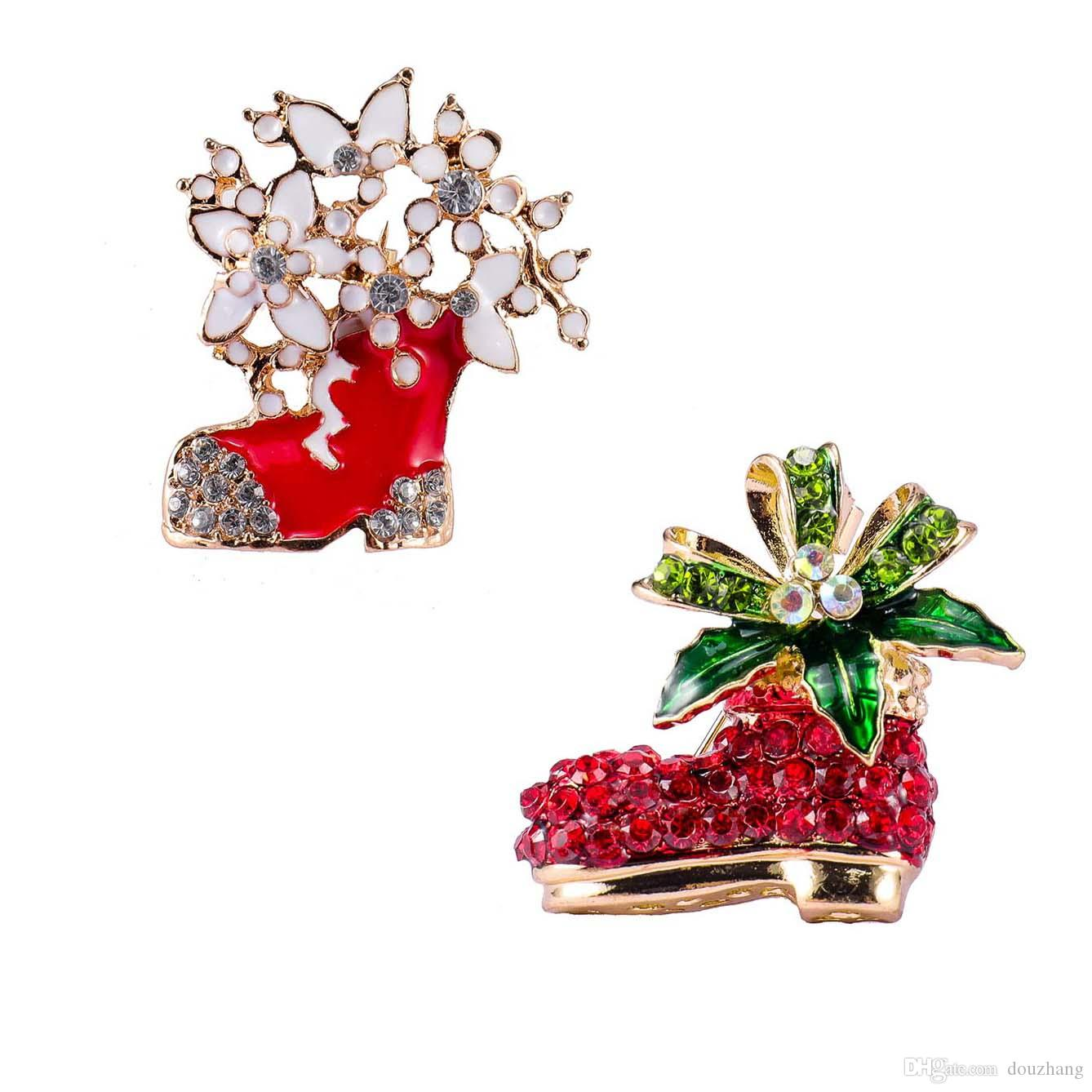 Hot Enamel Leaf Rhinestone Christmas Boots Brooch Pin Holiday Shoes Brooches Jewelry Gift Accessory Wholesale 12Pcs