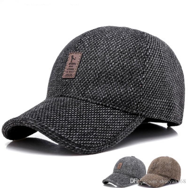 Marke Männer Wintermütze Halten Warme Kappe Für Papa Outdoor Baseball Caps Mit Gehörschutz Einstellbare Flachs verdickung Hüte Weihnachtsgeschenk