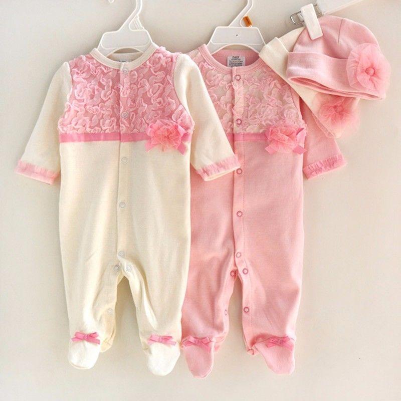 Principessa Style Ragazza neonato vestiti delle ragazze Lace pagliaccetti + Cappelli bambino Set di abbigliamento Articoli da regalo tuta infantile Abbigliamento bambino 0-9 M