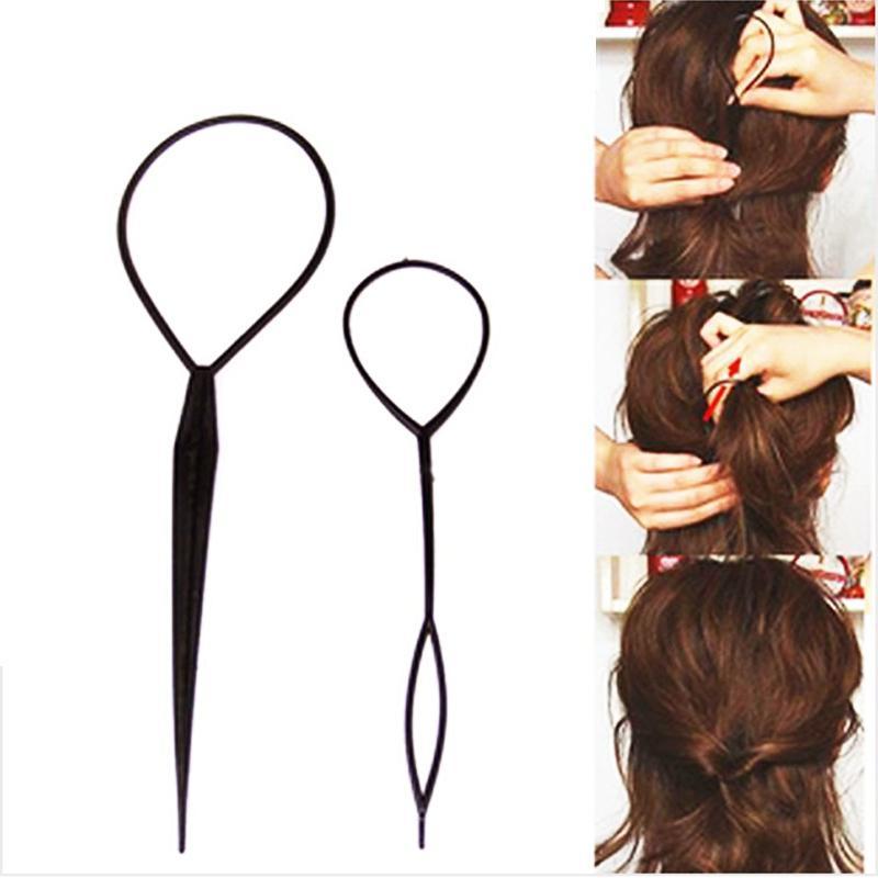 2 pcs/lot Hot Sale Chic Magic Topsy Tail Hair Braid Ponytail Styling Maker Clip Tool Black Headwear Tools P0024
