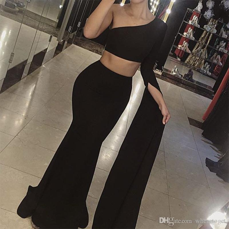 2019 One Shoulder Mermaid Evening Dresses long sleeves Sexy Backless Two Pieces Prom Dress Cheap Dubai Mermaid formal Prom Party Gowns