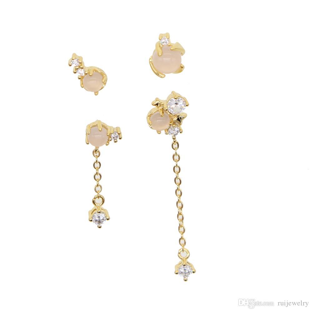Dichiarazione Orecchini pendenti Set goccia Bezel Fine cristallo Micro pavimentato orecchini CZ per le donne Fashion Party gioielli Orecchini all'ingrosso