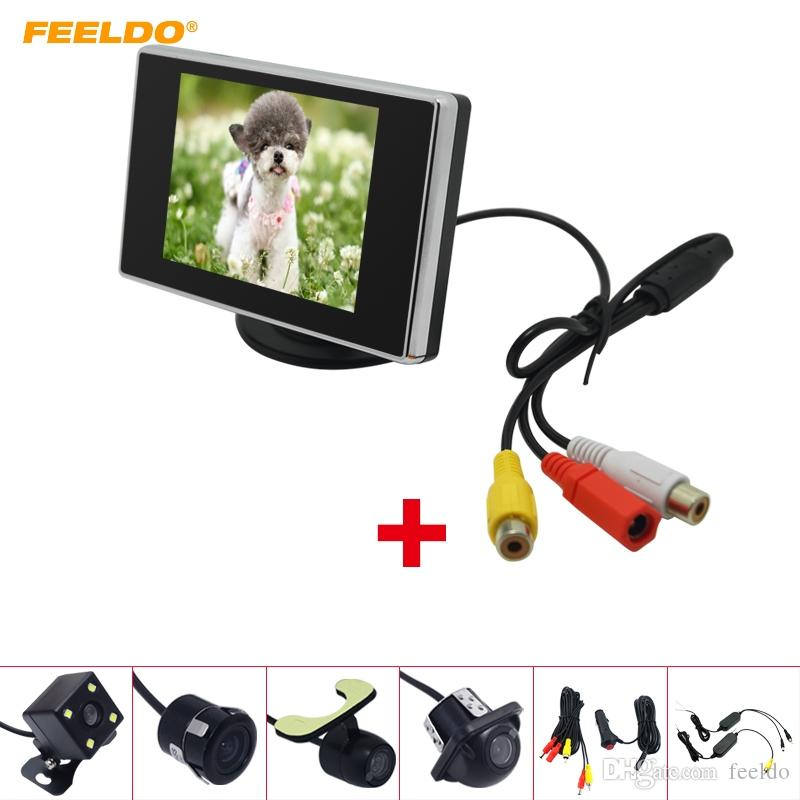 """FEELDO Car 3.5"""" LCD TFT Stand-alone Monitor With Rear View Parking Camera RCA Video System 2.4G Wireless & Cigarette Lighter Optional #4314"""