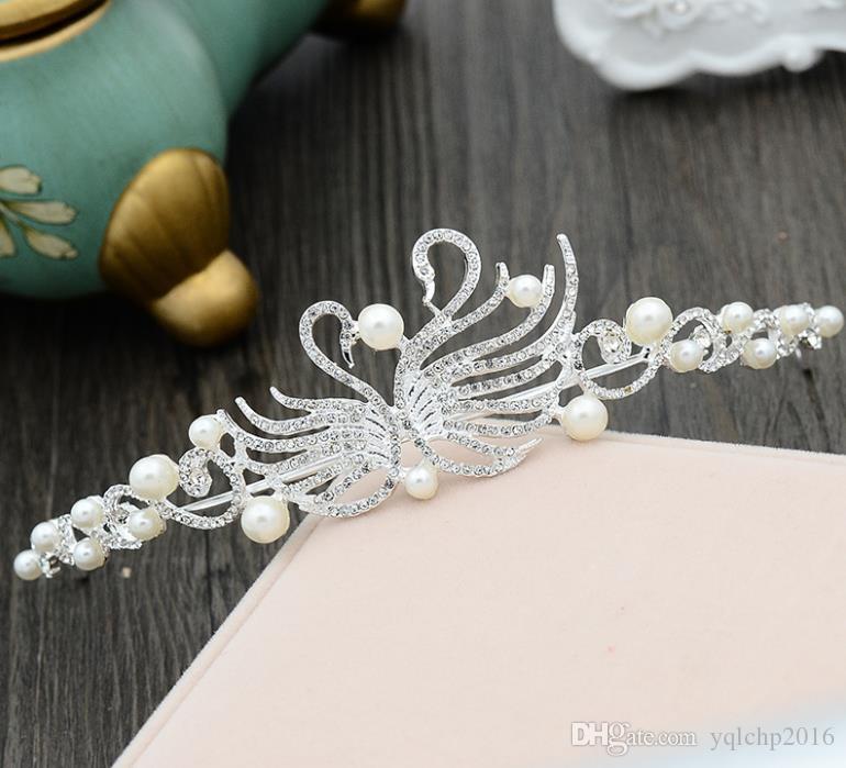 Corona nuziale, abito da sposa, accessori di filato bianco, accessori di copricapo di perle in stile coreano