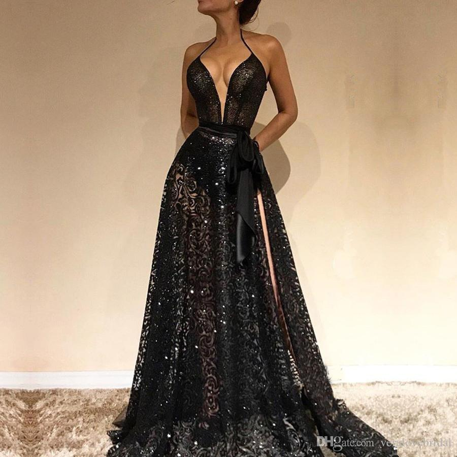 Сексуальные черные V-образные вырезывает вечерние платья 2019 кружева платье выпускного вечера с щелками Spaghetti Spaghetti Особое время носить одежды на заказ