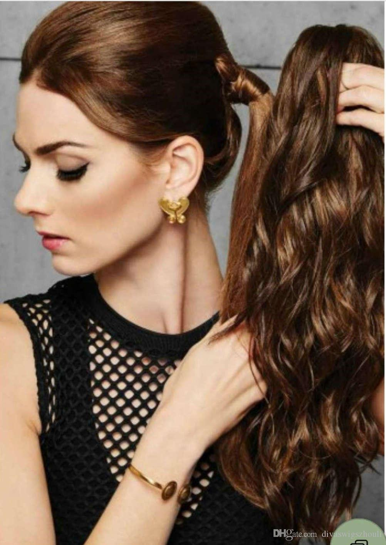 Nouvelle arrivée brésilienne pince à cheveux en wrap cheveux ondulés poney queue postiches vrais cheveux queue de cheval extension 4colors 120g