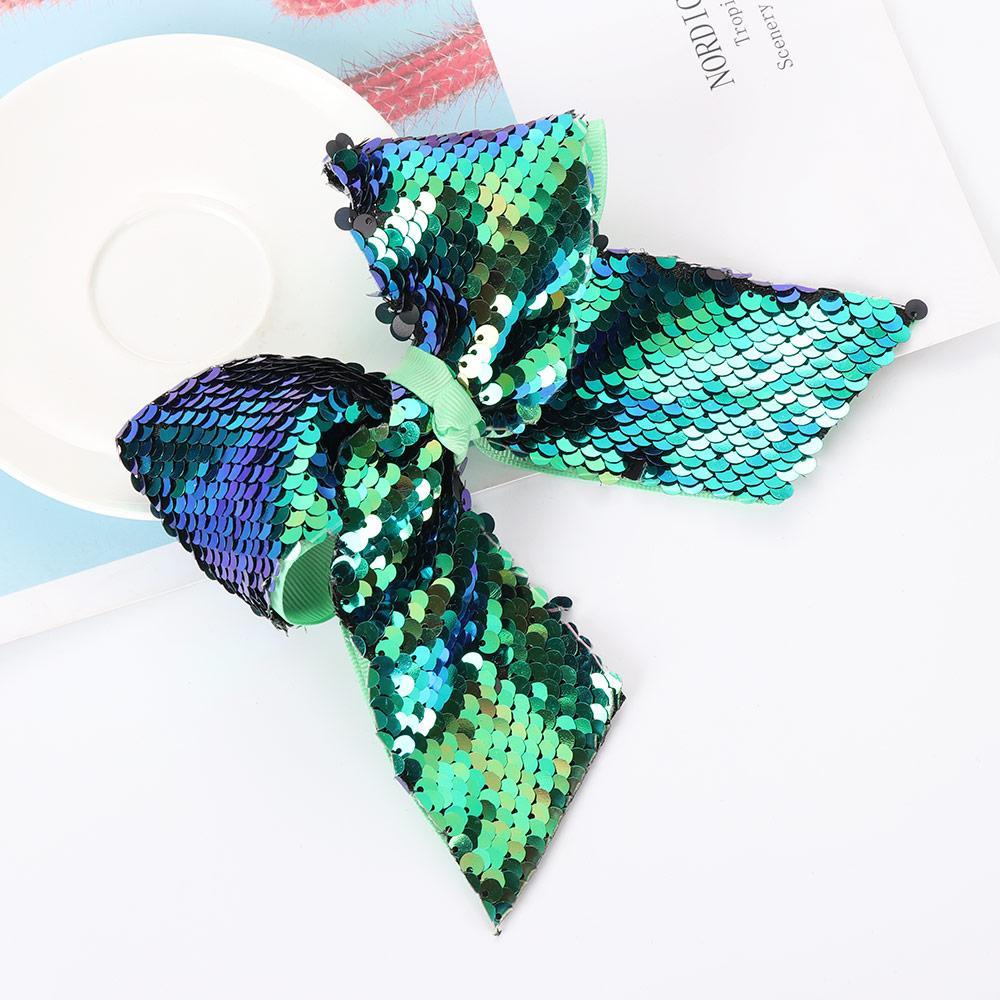 Children Floral Cute Mermaid Flipper Sequins Hair Clip Rainbow Baby Bow Hairpin