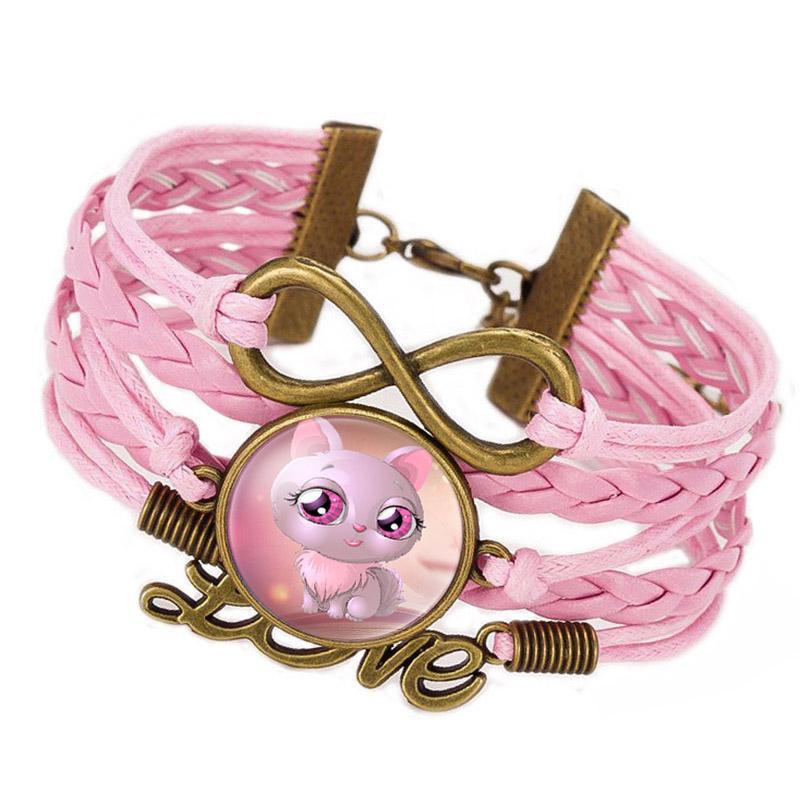 CAXYBB Vente chaude Chat Bleu Mignon Infinity Amour Bracelet En Cuir Bracelet Pour Filles Vente Chaude À La Main Wrap Corde Bracelets Bracelets cadeau