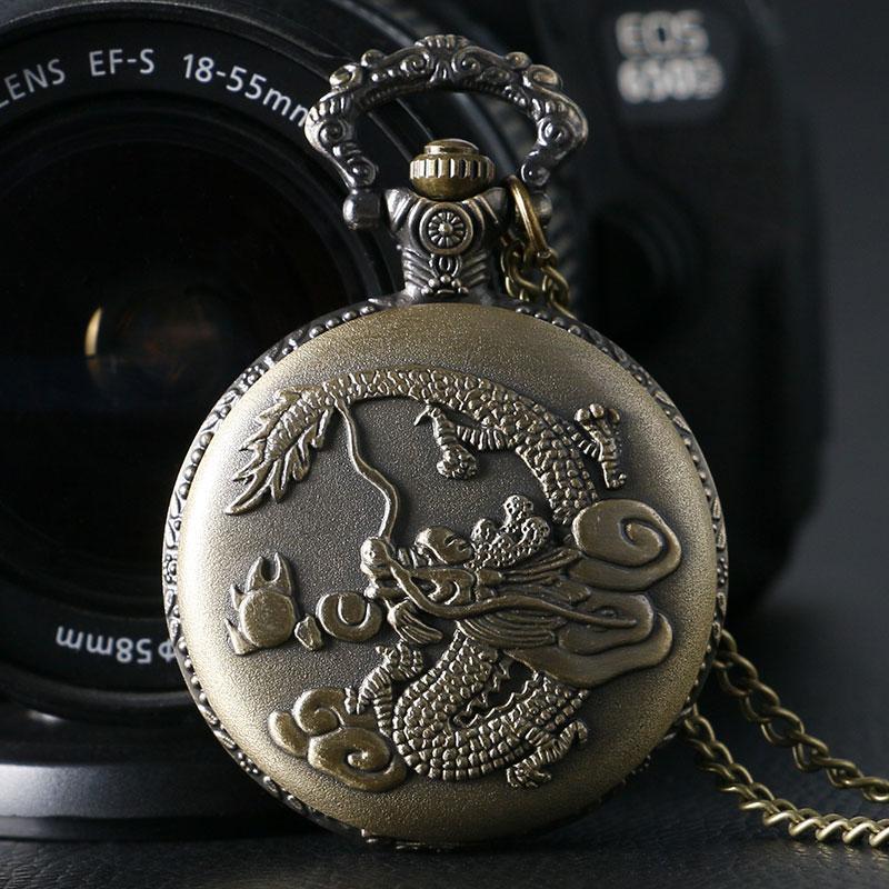 Orologio da taschino al quarzo con design a forma di drago cinese retrò in bronzo con nuovo arrivo e catena a catena
