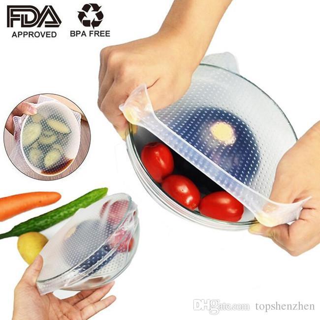 الغذاء الصف حفظ الطازجة التفاف reusable عالية تمتد سيليكون الغذاء الأغطية ختم فراغ غطاء تمتد غطاء أدوات المطبخ البيئية