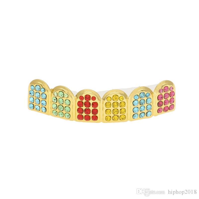 Leced out out gold grillz зубы зубы зубные грили красочные моделирования алмазные мода высококачественные мужские хип-хоп ювелирные изделия
