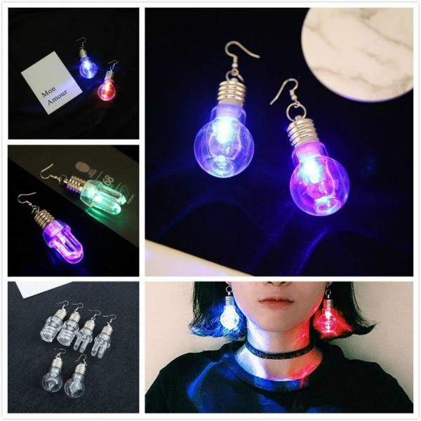 Cool Earrings Colorful Fashion Rainbow Light Bulb Novelty Drop Earrings Quirky Retro Fashion Party Earrings for male and female common