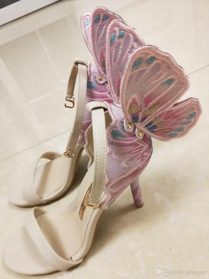 متعدد الألوان فراشة مجنح صوفيا ويبستر النساء عالية الكعب الصنادل الأحذية ثيه الكعب الزفاف مضخات أحذية المصارع الإناث تظهر sandalia