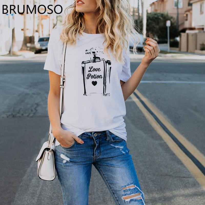 Ulzzang Verão Top Manga Curta Impressão Perfume Slogen T Shirt Mulheres O Pescoço Streetwear Do Vintage Tshirt Ocasional Feminina Plus Size