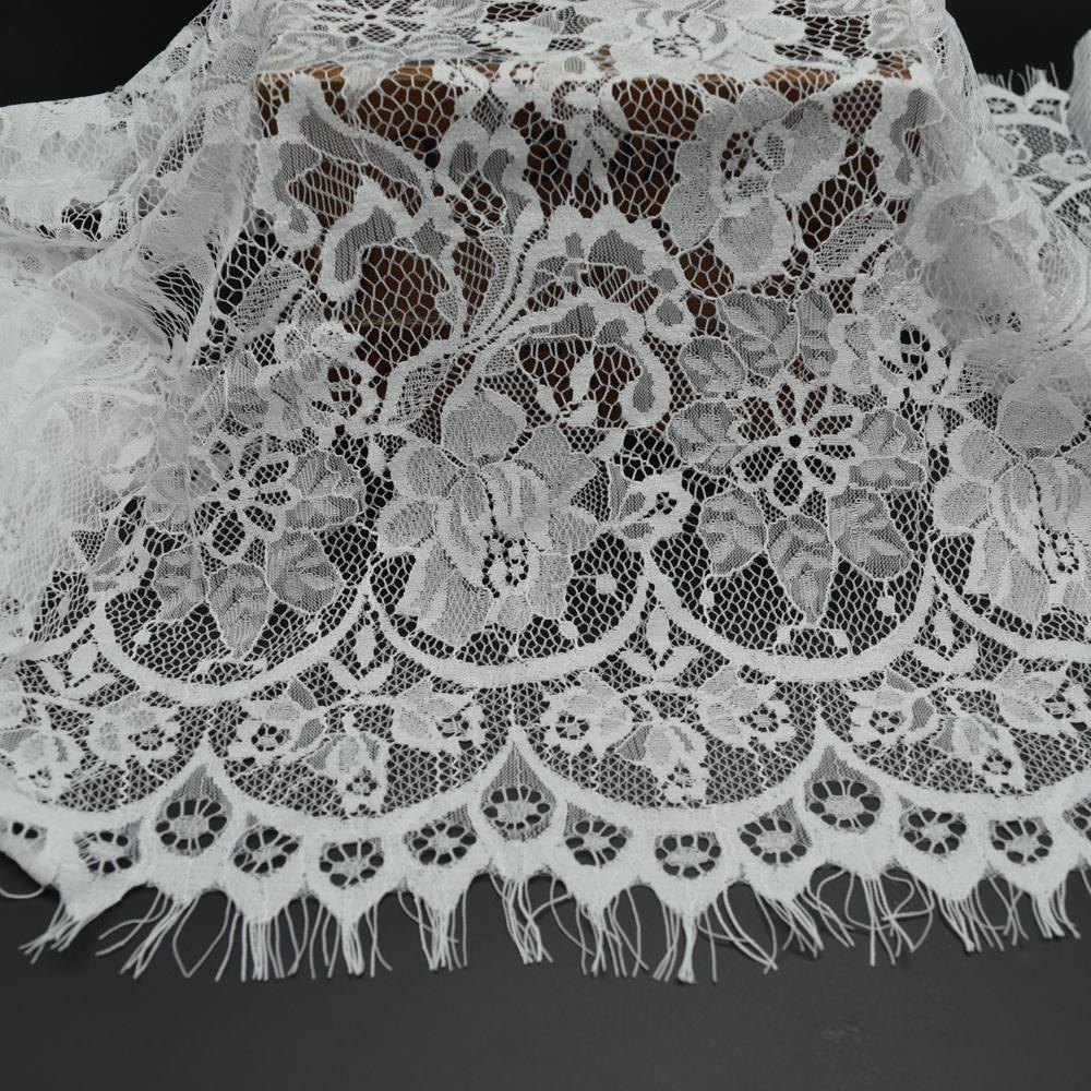 3 metros Branco e preto Romântico Líquido Cílios macia Tecido De Renda Vestido De Noiva Boneca Artesanato de largura 45 cm (18 '')