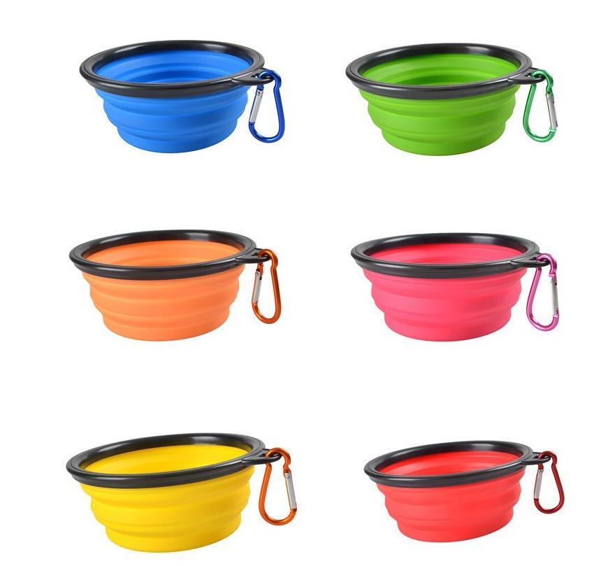 개 그릇 휴대용 Foldable 접을 수있는 실리콘 애완 동물 고양이 개 음식 급식 여행 그릇 더 많은 색상