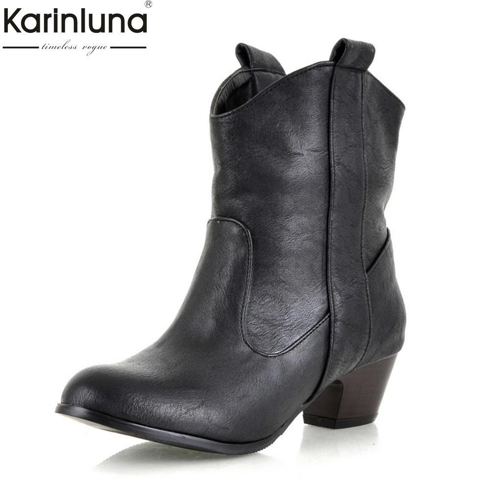 En gros 2018 grande taille 32-45 dropship gros slip sur western bottes femme chaussures automne hiver rétro femmes chaussures de cheville