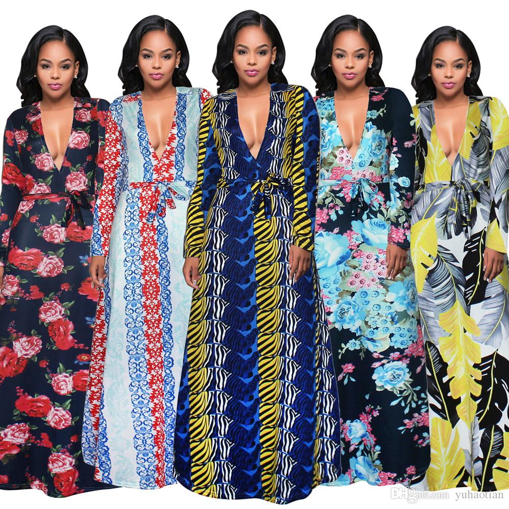 New High Quality Summer Sexy V-Neck Dress Flower Printed Plus Size Party Evening Maxi Dress Fashion Long Sleeve Women Dresses