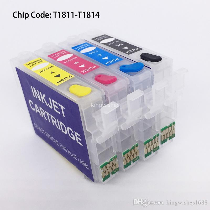 T1801 T1811-T1814 Cartouche rechargeable avec puce permanente pour Epson XP-212 XP-215 XP-312 XP-315 XP-412 XP-415 sans encre