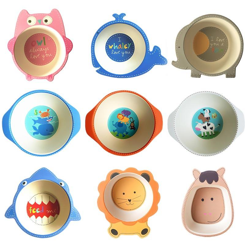 Whosale Natural Bamboo Fiber Bowls Cute Cartoon Baby Dishes Baby Feeding Tableware Children Infant Toddler Portable Environmental Plate
